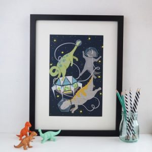 Space dinosaur A4 print