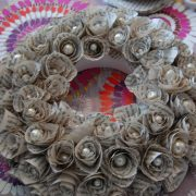 Paper rose wreath workshop