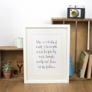 'She is clothed with strength and dignity' Unframed print