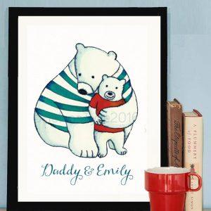 Personalised daddy hugs print