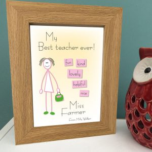 Best teacher female personalised print