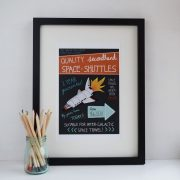Secondhand quality space shuttles A4 print