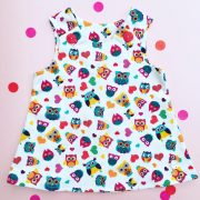 Owl baby cord pinafore dress
