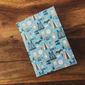 A6 Patterned Notebook. Camping themed
