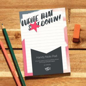 Mini Lined Note Pad 'Write That S**t Down' Desk Pad For The Stationery Lover, Planner Addict.