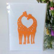 Giraffe Love Heart Card
