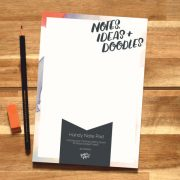 A5 Blank Notepad 'Notes, Ideas + Doodles' For the Stationery Lover, Planner Addict.