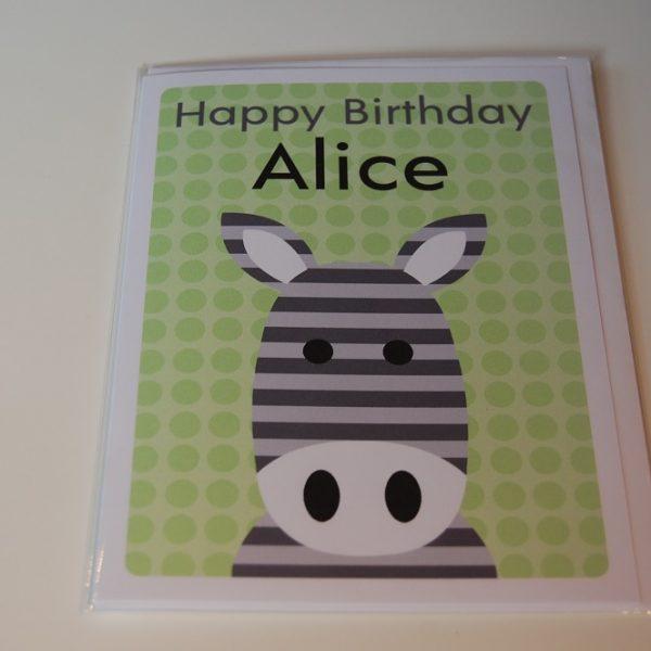Personalised zebra card