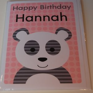 Personalised panda greeting card