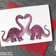 Dinosaur Valentine/Wedding Card