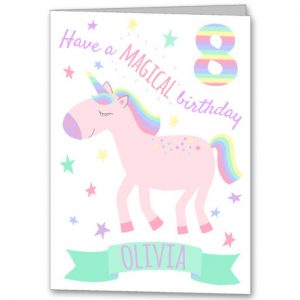 Personalised unicorn greeting card