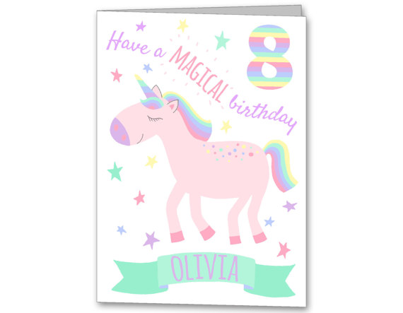 Unicorn personalised birthday card locally produced for you personalised unicorn greeting card m4hsunfo