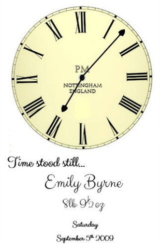 Time stood still new baby art personalised print