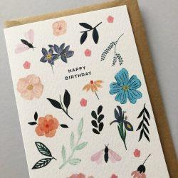 Pretty mix floral birthday card