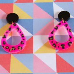 Neon leopard earrings