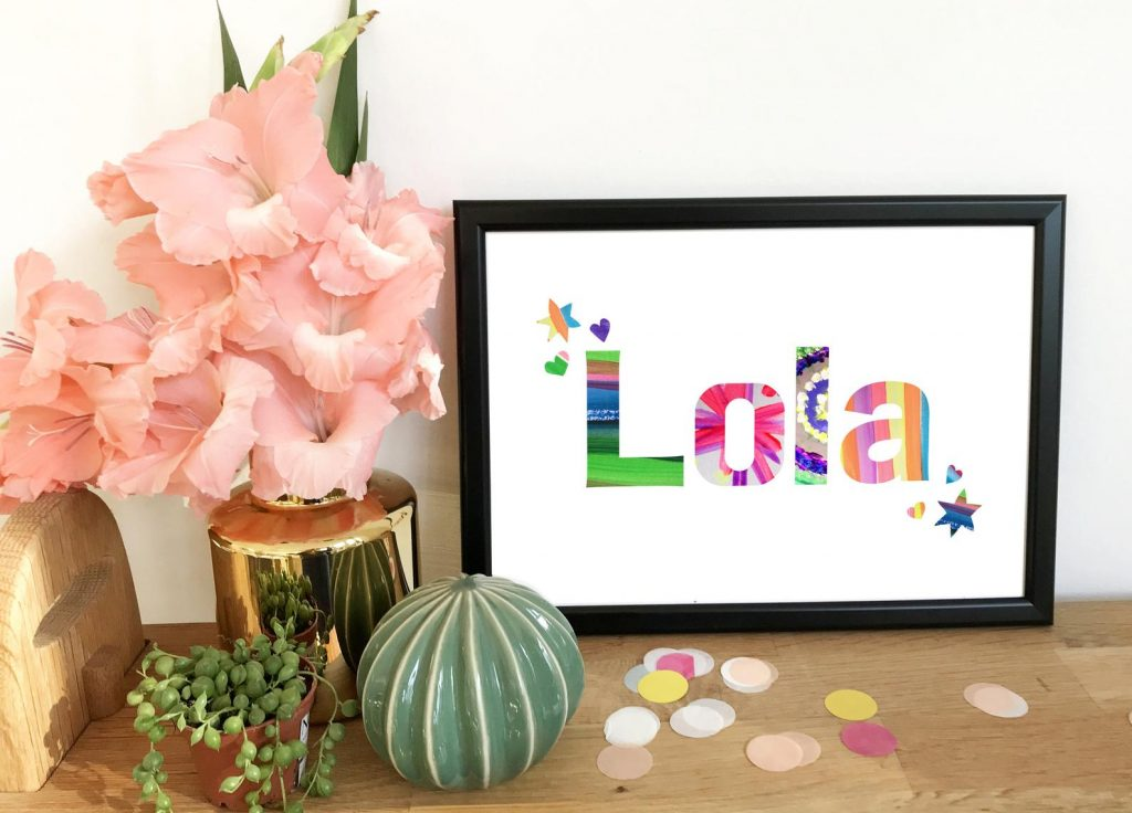 Multicoloured personalised name picture