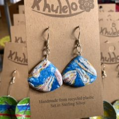 Recycled earrings from plastic