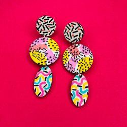 Large Pattern Clash Earrings - Hand painted Patterned Print Drop Earrings